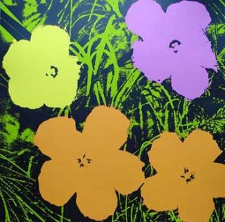 Flowers 1970 in Grass Green, Chartreuse, Mauve, Coral and Black. Andy Warhol, After