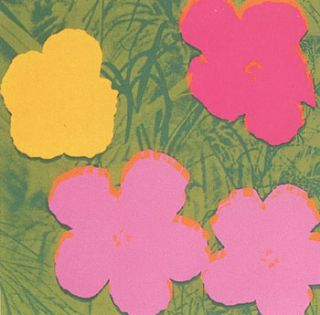 Flowers 1970 in Spring Green, Pine Green, Rose, Rose Pink and Buttercup Yellow. Andy Warhol, After.