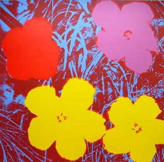 Flowers 1970 in Flax Blue, Wine Red, Rose Pink, Crimson and Buttercup Yellow. Andy Warhol, After