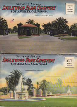 Souvenir Postcard Folders for Inglewood Park Cemetery, Los Angeles, California. Western Pub.,...