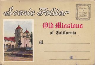 Scenic Folder [of] Old Missions of California. M. Kashower Co, Calif Los Angeles