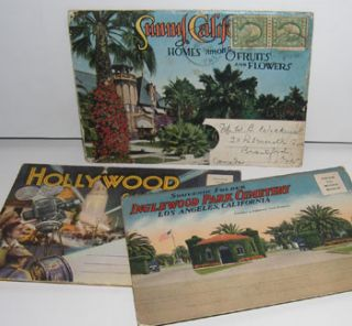 Souvenir Folders of Inglewood Park Cemetery, Hollywood, and Sunny California Homes among Fruits...