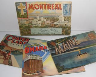 Souvenir Folders of Maine; Omaha, Nebraska; Crater Lake, Oregon; and Montreal, Quebec, Canada....