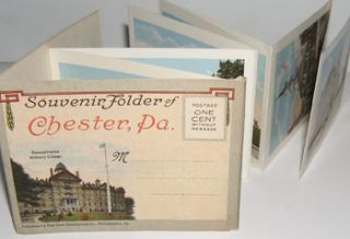 Souvenir Folder of Chester, Pennsylvania. Curt Teich, Co, Ill Chicago