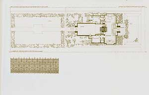 Atelier in concrete for Richard Bock, sculptor, Oak Park, Illinois. Ground plan, 1906. Pl....