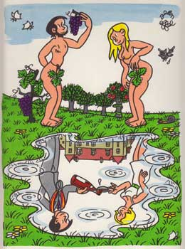 Wine Drinkers as Nude Adam and Eve. Menu cover for the Confrérie des Chevaliers du Tastevin....