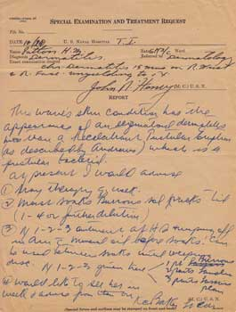 Special Examination and Treatment Request for H. M. Patton. John N. Henry, M. D