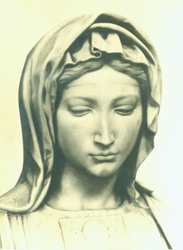 Black and White Photograph of Sculpture of the Madonna. Foto Marburg, Photographa Wetzlar Ringstrasse.