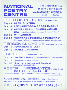 National Poetry Centre, Sep-Oct [1972]: Poets In Person. Basil Bunting, Lee Harwood, Roger...