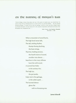 "A James Schevill Folder. ""On The Burning Of Mingus's Bass"" and ""Green Frog At Roadstead,..."