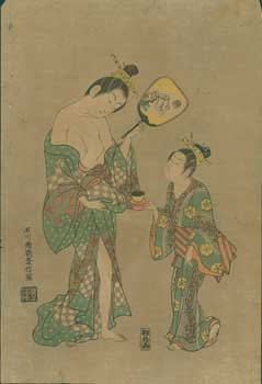 Courtesan Taifu And Hage. 20th Century woodcut reproduction of original (ca. 1749). After...
