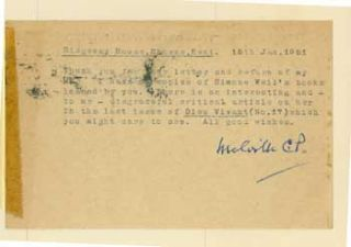 TLS Chaning-Pearce to Geoffrey Robinson, January 15, 1951. Melville Chaning-Pearce