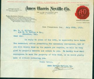 Letter, Typed & Signed, to Mr. D. J. Miller of Stockton, CA, Dated July 20th, 1912. Ames Harris...