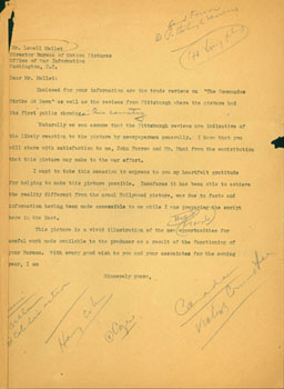 Copy of typed letter from Cowan to Mr. Lowell Mellet, Director Bureau of Motion Pictures, Office...