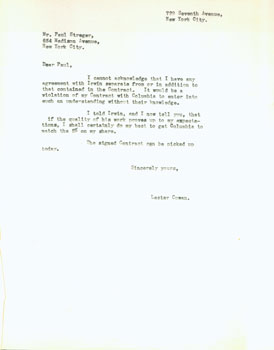 Copy of typed letter from Cowan to Mr. Paul Steger, Agent. Undated, ca. 1942. Draft copy,...