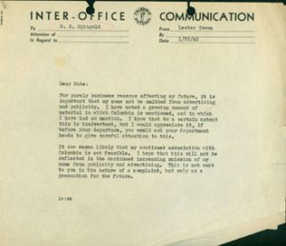 "Copy of typed memo (""Inter-Office Communication"") from Cowan to N. B. Spingold, 1/23/1942,..."