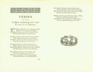 Verses On the Prospect of Planting Arts and Learning in America. Berkeley Historical Society,...