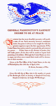 General Washington's Earnest Desire To Be At Peace. des., print, Roxburghe Club, Henry Knox,...