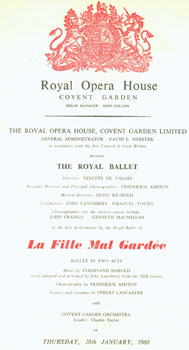 The First Performance by the Royal Ballet of La Fille Mal Gardee. Covent Garden Royal Opera...