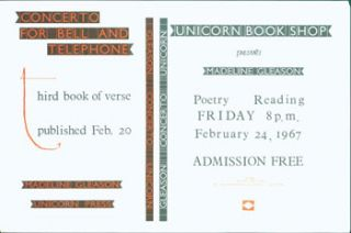Unicorn Book Shop Presents Madeline Gleason Poetry Reading, Friday 8 pm, February 24, 1967....