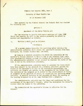 Federal Law Gazette 1952, Part I. Security of Road Traffic Law of 19 December, 1952. Federal...