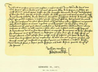 Edward IV, 1471, facsimile of letter. From Universal Classic Manuscripts: Facsimiles From...