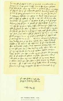 Sir Thomas More, 1534; facsimile of letter. From Universal Classic Manuscripts: Facsimiles From...