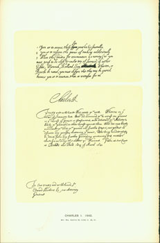 Charles I, 1642; facsimile of manuscript. From Universal Classic Manuscripts: Facsimiles From...