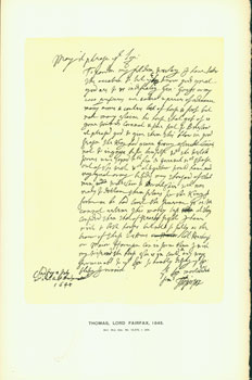 Thomas, Lord Fairfax, 1645; facsimile of manuscript. From Universal Classic Manuscripts:...