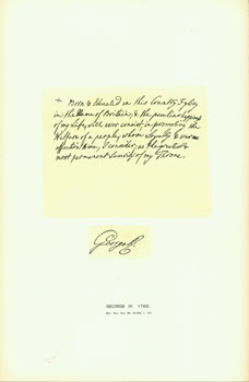 George III, 1760; facsimile of manuscript. From Universal Classic Manuscripts: Facsimiles From...