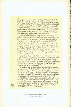 Sir Christopher Wren, 1675; facsimile of manuscript. From Universal Classic Manuscripts:...