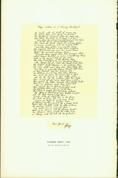 Thomas Gray, 1750; facsimile of manuscript. From Universal Classic Manuscripts: Facsimiles From...