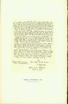Samuel Richardson, 1754; facsimile of manuscript. From Universal Classic Manuscripts: Facsimiles...