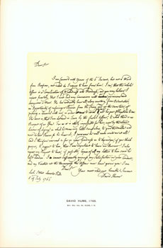 David Hume, 1766; facsimile of manuscript. From Universal Classic Manuscripts: Facsimiles From...