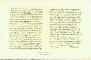 William Cowper, 1779; facsimile of manuscript. From Universal Classic Manuscripts: Facsimiles...
