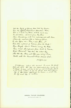 Samuel Taylor Coleridge, 1815; facsimile of manuscript. From Universal Classic Manuscripts:...