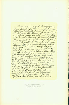 William Wordsworth, 1834; facsimile of manuscript. From Universal Classic Manuscripts: Facsimiles...