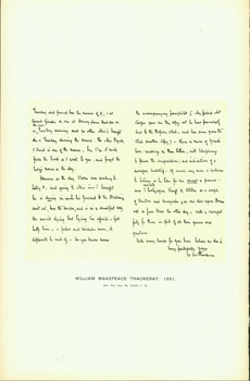 William Makepeace Thackeray, 1851; facsimile of manuscript. From Universal Classic Manuscripts:...