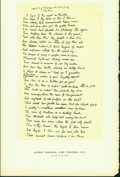 Alfred Tennyson, Lord Tennyson, 1872; facsimile of manuscript. From Universal Classic...