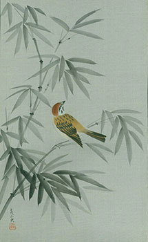 "[Bamboo And Bird]. ""Happiness"" stamped in Japanese characters."