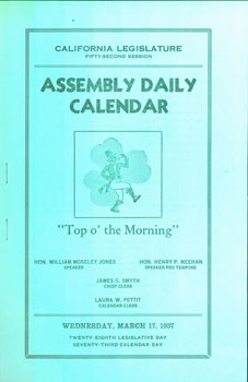 California Legislature Fifty-Second Session. Assembly Daily Calendar. Wednesday, March 17, 1937....