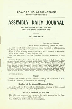 California Legislature Fifty-Second Session. Assembly Daily Journal. Wednesday, March 17, 1937....