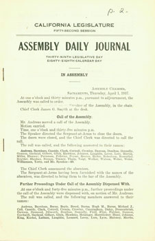 California Legislature Fifty-Second Session. Assembly Daily Journal. Wednesday, April 1, 1937....