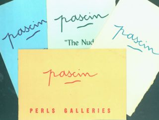 "Exhibition Catalogues for Jules Pascin shows at Perls Gallery, 1952 - 1962. Jules Pascin, 1885 -1930: September 22 - October 25, 1952. 8vo. [Oblong] [8 pp.] Stapled Wraps, Very Good, minor stains. Illustrated. Jules Pascin, (1885 -1930): November 14 - December 24, 1955. 8vo. [12 pp.] Stapled Wraps, Deckled Edges, Very Good. Illustrated. Jules Pascin, (1885 -1930) ""The Nude"": January 5 - February 7, 1959. 8vo. [16 pp.] Stapled Wraps, Deckled Edges, Very Good. Illustrated; one color plate. Jules Pascin, (1885 -1930) Portraits and Models: November 20 - December 29, 1962. 8vo. [12 pp.] Stapled Wraps, Deckled Edges, Very Good, minor stains on back cover. Illustrated. Jules Pascin."