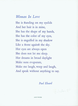 Woman In Love. des., print, Arif Press, Paul Eluard, Wesley B. Tanner