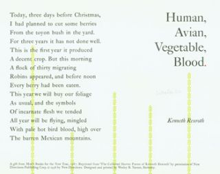 Human, Avian, Vegetable, Blood. Arif Press, Kenneth Rexroth, Moe's Books, Wesley B. Tanner, print