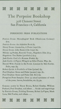 Peregrine Press Publications. Porpoise Bookshop, Gallery, Peregrine Press
