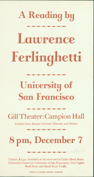 A Reading by Lawrence Ferlinghetti, University of San Francisco, Gill Theater: Campion Hall....