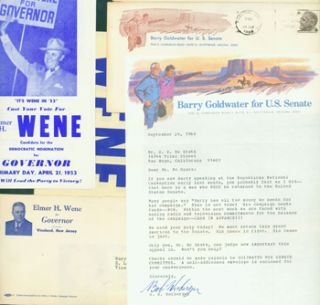 Fundraising & Campaign Letters. 1968 Barry Goldwater For U. S. Senate Campaign, 1953 Elmer Wene...