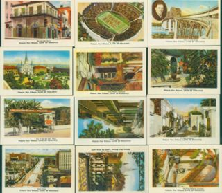 Historic New Orleans. Land Of Romance. 12 Color Post Cards In Portfolio Case. Bagur Southern...